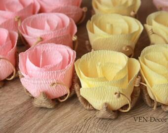 10 Paper Rose Flowers, Rustic Wedding Table Decorations, Rustic Flower Centerpiece, Wedding Table Centerpiece, Rustic Barn Wedding Decor