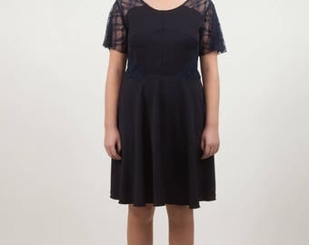 Navy Blue skater dress with lace inserts