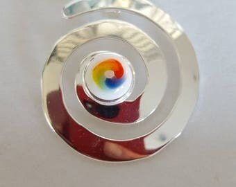 Rainbow Pendant, Rainbow Earrings, Gift for Lesbian,  Lesbian Jewellery, Silver Rainbow, Fused Glass, Jewellery Set, Silver Plated Chain,