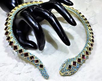 RESERVED Beautiful Vintage KJL (Kenneth J Lane) Red Rhinestone  Turquoise Bead Snake Collar
