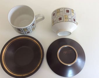 2 x vintage cup and saucer purbeck pottery