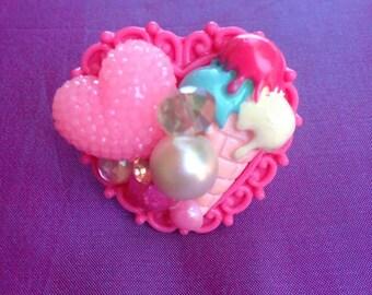 Ice Cream Social Kawaii Statement Ring, sweet lolita, girly, chunky, fairy kei, gyaru, Harajuku