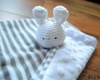 Striped flat blanket, rabbit with crochet