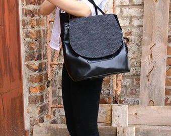 Christmasinjuly Backpack, handbag, crossbody bag, shoulder bag 4 in 1, eco leather, vegan leather, faux leather backpack
