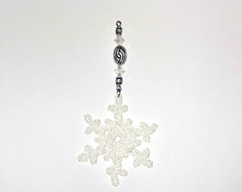 Hand Crocheted Sparkling White Lace Snowflake with Handmade Ornament Holder Faceted Clear Beads Silver Tone Filigree Beading Window Ornament