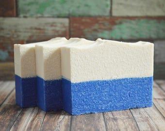 Sea Horizon Salt Soap | Cold Process Palm Free Handmade Salt Bar, Blue Artisan Soap, Vegan Homemade Soap, Handcrafted Scented Soap Favor