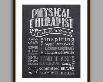Physical Therapist Chalkboard Style Art Printable, Personalized Physical Therapist Graduate Gift, Physical Therapist Appreciation Gift