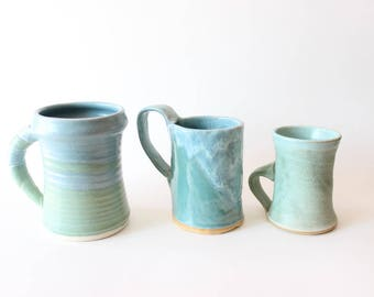 Set of 3 Stoneware Mugs Turquoise Coffee Cups Studio Pottery Cups Boho Kitchen Boho Home Decor