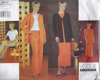 Vogue Wardrobe 2533  Misses'/ Misses' Petite Jacket, Top, Dress & Pants   Size (18-22)  UNCUT