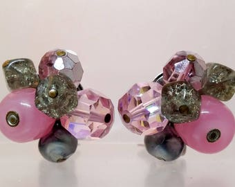 Hattie Carnegie Beaded Cluster Earrings, Pink Glass Gray Clip On Earrings, Vintage Costume Jewelry, Gifts, Women's Jewelry, Gift for Her