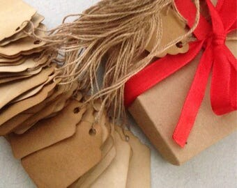 Coffee Stained Blank Gift Tags Price Tags Strung scalloped edge Primitive Tags
