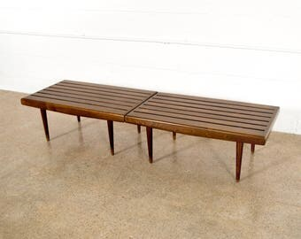 Mid Century Benches, Slat Benches, Pair of Mid Century Modern Nelson Style Walnut Slat Benches, Vintage