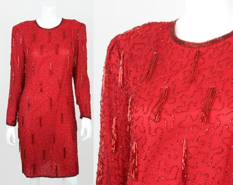 Vintage Sequin Dress Red Tassel Fringe Long Sleeve Scala Silk Party Fitted