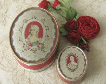 Pair of Vintage Richard Hudnut DuBarry Face Powder Boxes - Large Size and Travel Size