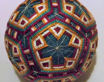 Japanese Temari Pentigan woven in triangles gold, magenta,teal and white