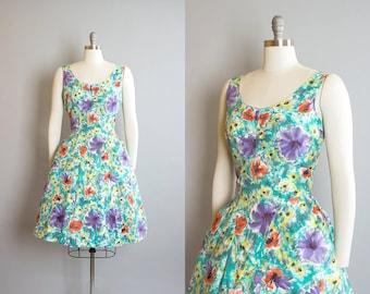 Vintage 1950s Dress | 50s Floral Watercolor Print Cotton Sundress Pleated Full Skirt Day Dress (medium)