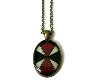 Tribal Necklace - Tribal Statement Necklace - Boho Necklace - Boho Statement Necklace - Oval Burgundy Necklace - Unique Jewelry