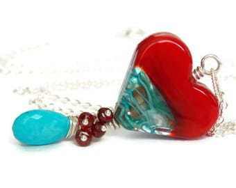 Nautical Heart Necklace.  Red and Blue Necklace. Artisan Glass Necklace. Birthstone Necklace. Luxe Gemstone Jewelry