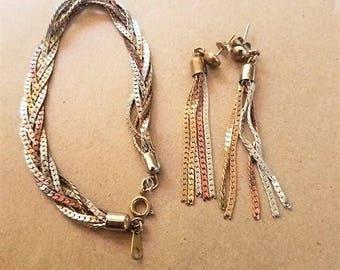 Vintage tri color herringbone braid bracelet and earrings set