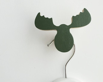 Wall Hook Moose Army Green, Kids Wall Hook, Kids Hooks, Kids Room Decor, Wooden Wall Hooks, Wall Hooks for Kids