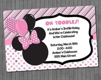 ON SALE Minnie Mouse Birthday Invitations