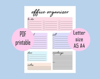 Office organizer planner printable, digital print, office printable, instant download printable, office organization, office daily plan