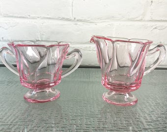 Fostoria Jamestown Pattern Pink Creamer and Sugar