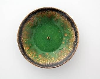 Vintage candleholder // large enamel on copper candle holder