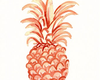 Coral Pineapple Watercolor Art Print,  Beachy Pineapple Print
