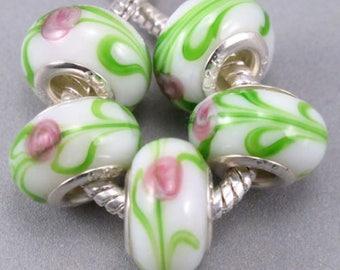 White Floral Murano Glass European Beads - 9 Beads
