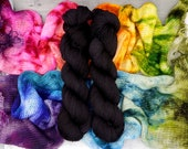 Rainbow - Changes Shawl Kits - (speckled gradient) - a classic spectrum, paired with a dark black-brown, or a putty color