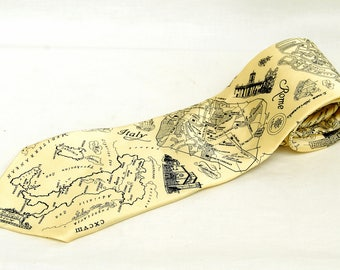 Vintage Rome Florence Italy Silk Necktie Museum Artifacts Mens Tie Nautical Print Map Graphic Office Gifts for Men
