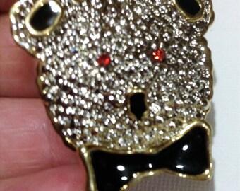 striking art deco style gold metal figurative bear brooch