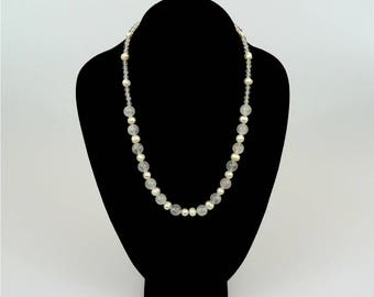 Freshwater Cultured Pearl and Rose Quartz Necklace and Bracelet
