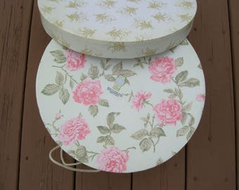 Romanitc Pink Rose Hat Box,Off White Roping, Victorian Hat Box,Striped In Side Tri Coastal Design
