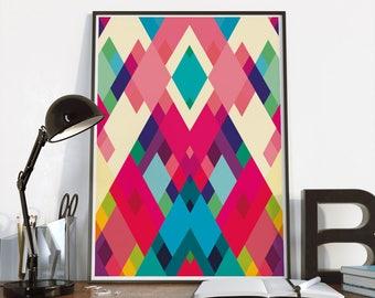 Art print - Colorful Abstract art - large size poster - A4, A3, A2- Diamonds print - geometric modern art - office decor - wall decor