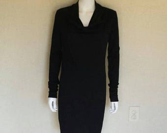25% off SALE Helmut Lang black wool cowl neck dress Size small