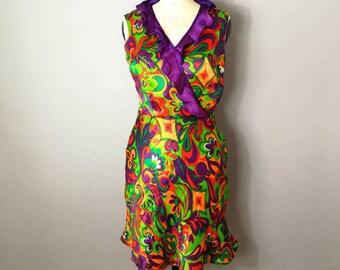 60s psychedelic dress / ultraviolet 60s dress / colourful retro dress / cut on the bias / wedding guest dress / hippie mini dress / twiggy