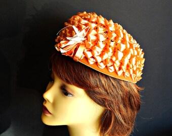 Pillbox Hat Orange Straw Raffia Filene's and Union Label