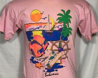 30% OFF SALE Vintage Bahamas Tourism 1980's SOFT t-shirt - travel - vintage tees - vintage t shirt  (Large)