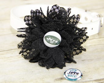 NY Jets, New York Jets, Honeycomb Lace Dog Collar Flower, Attachment, (Collar not included), Collar Flower, Dog Accessory