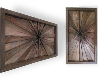 Reclaimed Wood Art Sculpture 1940s Pine Starburst Mini Small Rustic Geometric Boho Jungalow Modern Infinity Point Textured Abstract OOAK