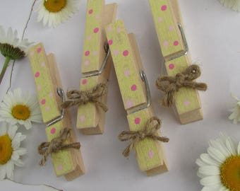 Yellow & Pink Clothespins, Decorated Clothespins, Painted Clothespins, Polka Dot Clothespins, Rustic Clothespins, Pink Lemonade Party Decor