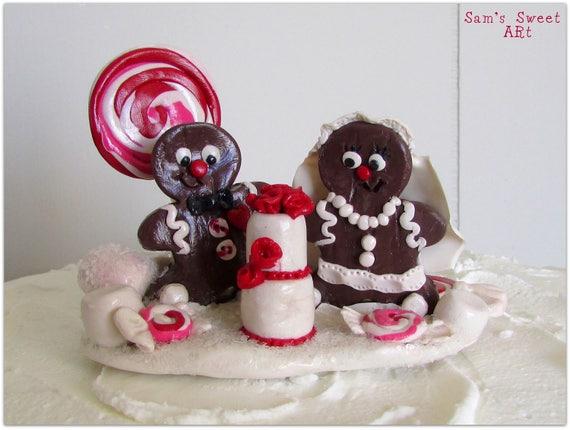 Gingerbread Bride & Groom Wedding Cake Topper, Christmas Wedding ...