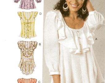 PULLOVER FLOUNCED TOPS McCall's Pattern 6467 Misses Sizes 6 8 10 12 14