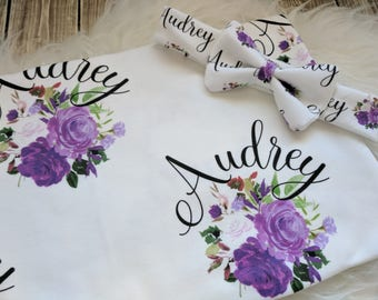 Personalized purple floral baby name headband and name blanket set: baby and toddler personalized name newborn hospital gift baby shower