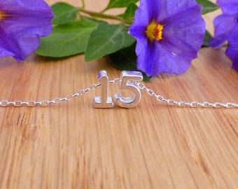100% Sterling Silver Day Necklace, Silver Day Necklace, Birthday Necklace, Personalized Number Necklace