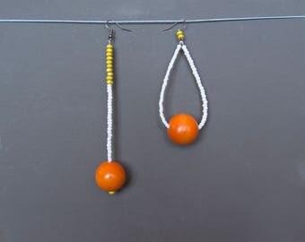 Assymetric earrings Mismatched earrings Long earrings Beaded earrings Wooden earrings Yellow earrings White Orange earrings Rustic earrings