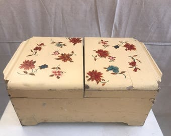 Vintage Wooden Jewelry Sewing Box With Removable Tray
