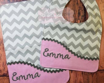 Personalized Bib and Burp Cloth Set, - Monogrammed Baby Bib & Burp Cloth, - Chevron Bib and Burp Cloth Set, - Baby Shower Gift Set